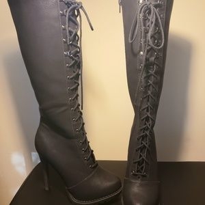 Aldo Lace Up Black Boots